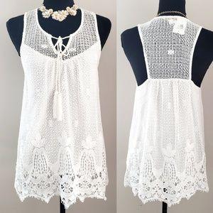 Ella Moss thistle tank w/tassle crochet lace XS